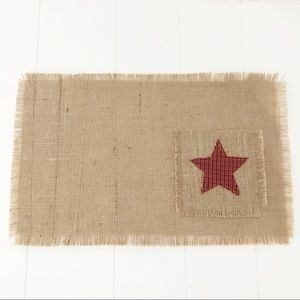 Other - 4 Burlap Fringe Red Plaid Star Pocket Placemats